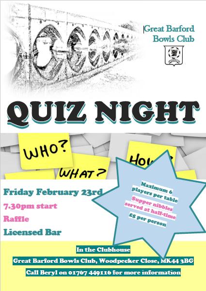 Quiz Night 23rd Feb